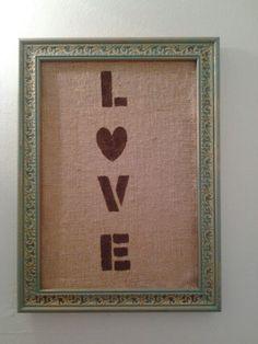 Goodwill frame, burlap & stencil