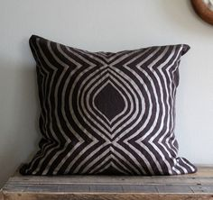 Metallic beige & brown handprinted organic hemp pillow cover 20x20 @Chanee Vijay
