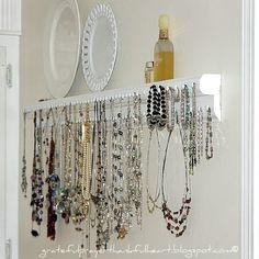 wood trim, necklace storage, jewelry storage, diy jewelry holder, diy necklace