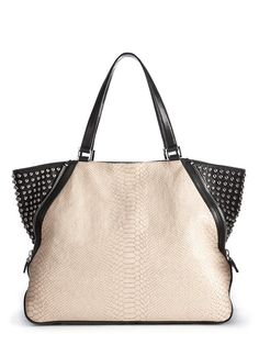 Python Printed Leather Large Zip Tote with Studs
