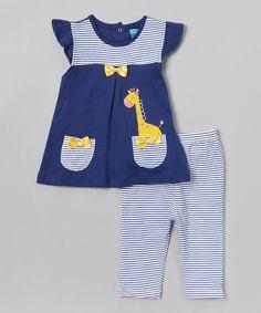 Loving this Blue Giraffe Tunic & Stripe Leggings on #zulily! #zulilyfinds