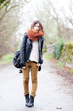 Scarf is overwhelming but skinny khakis + the shoes = yes.