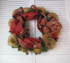 #Winter Red #Burlap #Mesh #Wreath  www.facebook.com/wreathswithareason