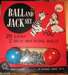 Vintage 1960'S Jacks Jack Jax Game 20 Metal Jacks 2 Ball USA SHIMMEL SONS TOY NY