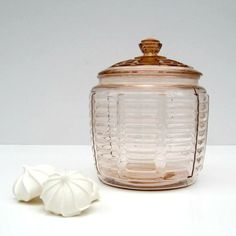 Pink Depression Glass Cookie Jar with Lid - Ribbed Panel Pattern