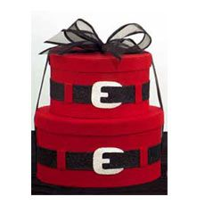 Santa Inspired package: Paint a box red and add a belt for a creative way to wrap presents.