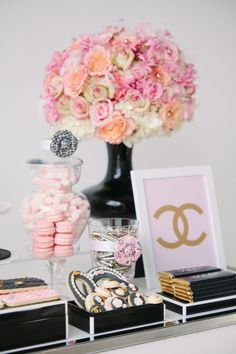 Coco Chanel inspired flowers / floral arrangement and dessert display