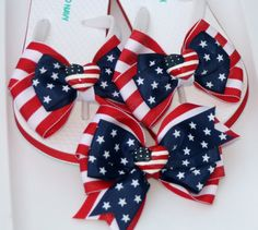 Red White and Blue Stars and Stripes Flip Flops and by bowsforme, $21.99