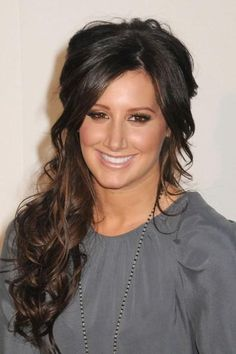 hairstyle half up, ashleytisdalehairstyl half, hair colors, dark hair, hairstyle ideas, hairstyles half up, wedding hairs, ashley tisdale hairstyles, hair style