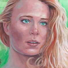 Princess Buttercup from the Princess Bride Done on 6x6 inch Aquabord with Winsor & Newton Gouache Paints