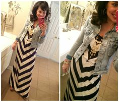 MAXI DRESS FOR THE WIN!!!  This one is my favorite!  LOVE the navy and cream chevron maxi paired with my MUST  HAVE denim jacket, my MUST HAVE wedges, and some Stella and Dot jewelry!