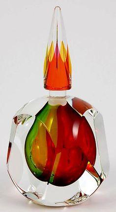 """Autumn Perfume Bottle""   ~ Paul D. Harrie, blown glass perfume bottle"