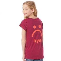 """Cranberry Hi-Bye Tee Tell your besties exactly what's on your mind without saying a word with this seriously cute girls graphic tee! On one side: A happy glittery, smiley face to say """"Hey!"""" when you meet up. On the other? A super sad face that let's them know you don't want to go. #littlemissmatched"""