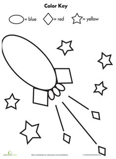 Preschool Kindergarten Shapes Color by Number Worksheets: Color by Shape: Rocket in Space