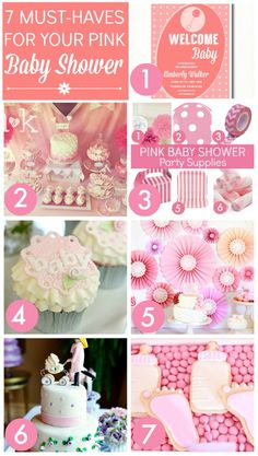 7 must-haves for planning your Pink Girl Baby Shower, including cake ideas, printables, invitations, party supplies, and more! | CatchMyParty.com