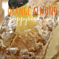 This moist, delicious, super flavorful almond poppyseed bread with its crunchy orange sugar glaze is almost dangerously addictive! One bite and you will be hooked!