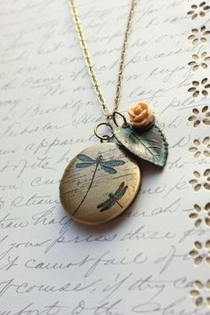 Picture Locket Necklace Rose Charm Verdigris by apocketofposies