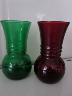 Ruby Red and Emerald Green Depression Glass Vases.