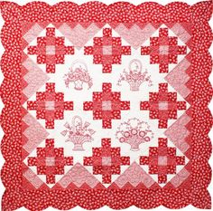 free pattern, robert kaufman, daisi redwork, quilt patterns, redwork quilt, quilts, quilting fabric, quilt shop, lazi daisi
