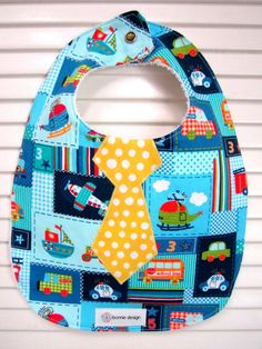 Blue Baby Boy Bib with Tie & Cars by abonniedesign on Etsy, $18.00