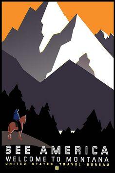 Vintage Travel Poster Montana Mountains