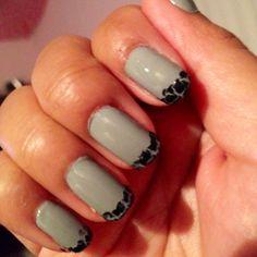 french tips, shatter polish, nail art