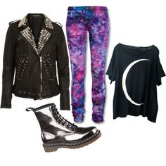 Check it out now, the funk soul brother, created by anniemal on Polyvore. Cosmo leggings + oversized moon shirt + Docs