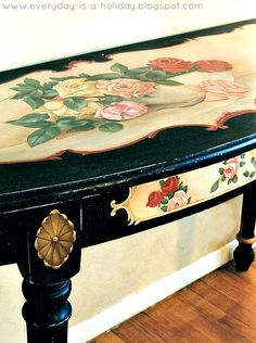 Everything's Rosey by Everyday is a Holiday #handmade #hand painted #roses #table #decor #black
