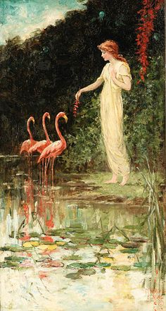 Standing Woman with Three Pink Flamingos, Frederick Stuart Church
