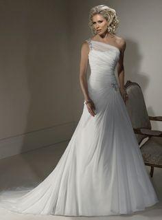 Fashionable One Shoulder Dropped waist Chiffon wedding dress $335.00