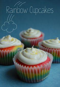 Rainbow Cupcakes | www.wineandglue.com | Happy little easy cupcakes!
