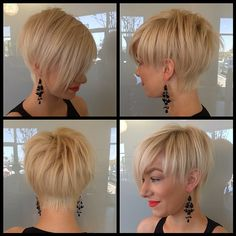 Great execution of short cut with cropped sides and back and long forward angled front and fringe, really like the softness and length left at the back. I would like the back hairline to be softer and the weightline more graduated/blended but overall, a great cut.