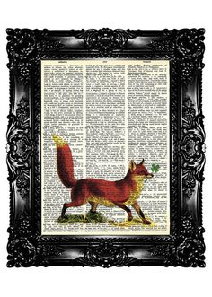 Use a dictionary page to print a picture. Love the fox.