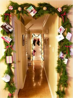 Holiday Card Garland Combine two elements of the holiday season to create one festive (and practical) décor piece. Wilmara Manuel of Madly Stylish Events suggests framing a doorway in your house with a garland of fresh greenery. When holiday cards arrive, punch a hole in them and tie the cards to the swags with ribbon
