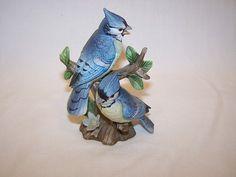 VINTAGE LEFTON CHINA #2203 HAND PAINTED BLUE JAY - BLUE BIRD STATUE