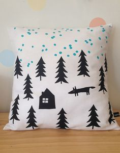 Henry & Co Snowy in the woods cushion - Teal