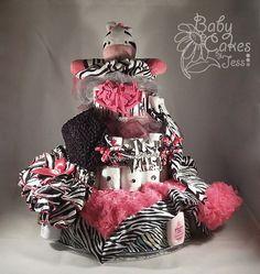 Hot Pink and Black Zebra Diaper Cake by BabyCakesbyJess on Etsy, $80.00