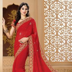 #Red Faux Georgette #Saree with Blouse