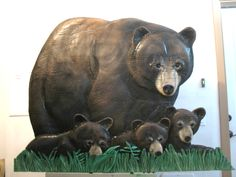 Pine/ Momma black bear with cubs