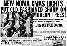 """A 1949 newspaper ad for NOMA Christmas tree lights, published in the Oregonian (Portland, Oregon), 20 December 1949. Read more on the GenealogyBank blog: """"'Oh Christmas Tree': History of Christmas Trees, Lights & Décor."""""""