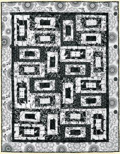 = free pattern = Geo Squares quilt, black and white version, by Michele Scott at Quilt Views