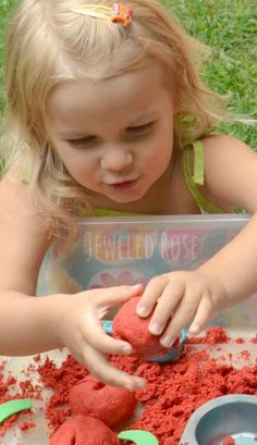 Homemade Apple Moon Sand Recipe Perfect for Fall- kids will love the FUN texture of this oozing sand. Mold-able, squishy, a bit oozey, and JUST TOO FUN!