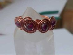 spirals & beads wire wrapped ring