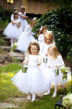 Tin pails and tutus make for an ethereal #flowergirl procession! #toocute #weddinginspo  For more flower girl tips, tricks, ideas & inspiration, visit us at www.flowergirlworld.com.