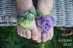 PATTERN Baby Crocheted Barefoot Sandal, - via @Craftsy