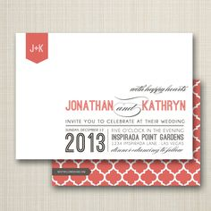 modern wedding invitation - happy hearts..  via Etsy.