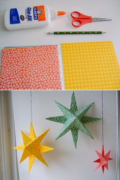 DIY: paper stars - I want to make these and spray paint them silver with glitter to hang in the windows for Christmas