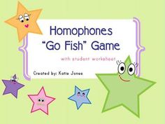 Go fish....Homophones, 1.00. Repinned by SOS Inc. Resources @sostherapy.