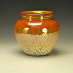 Raku Pot with orange crackle glaze by Timco Art Pottery.