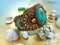 Relax -Bracelet Bead Embroidery Art with Turquoise, via Etsy.